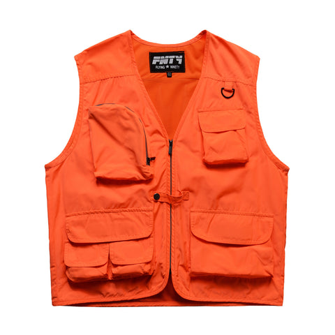 FNTY Reflecting Neon Multi Pocket Vest - Orange