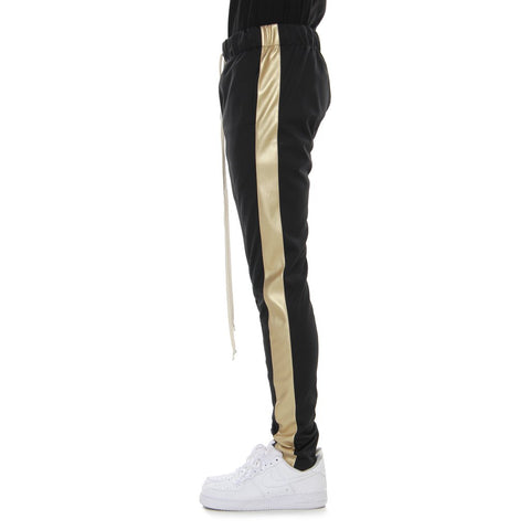 EPTM BLACK/GOLD VEGAN LEATHER-TRACK PANTS