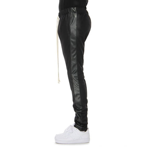 EPTM BLACK/BLACK VEGAN LEATHER-TRACK PANTS