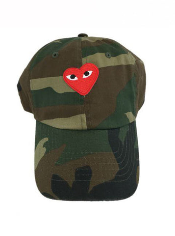 By Lee Apparel Red Comme Patch Distressed Dad Hat - Camo