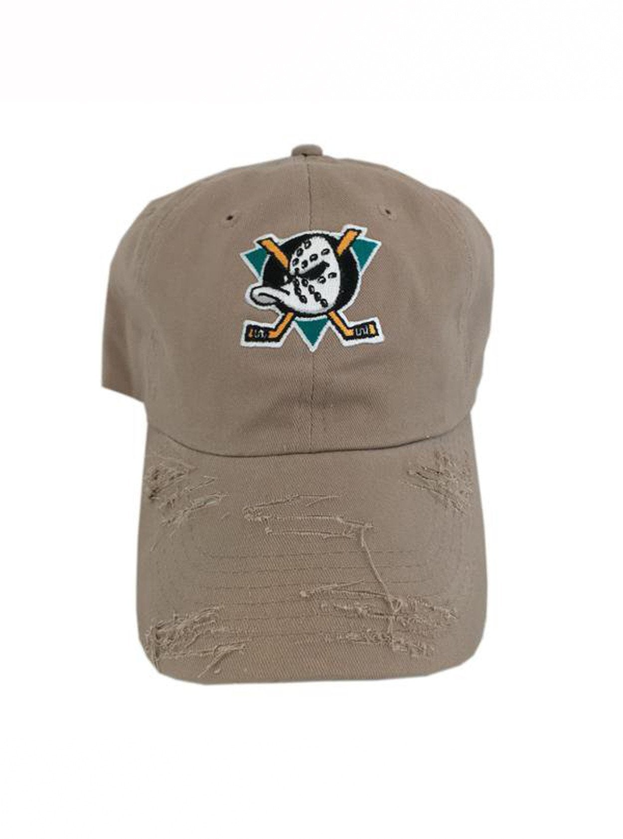 By Lee Apparel Side Mighty Ducks Patch Distressed Dad Hat - Khaki ... 4dc007512a7