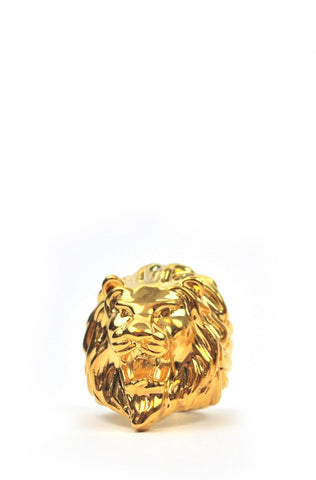 The Gold Gods Lion Head Ring - Gold