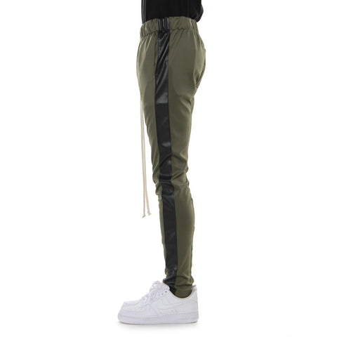 EPTM OLIVE/BLACK VEGAN LEATHER-TRACK PANTS