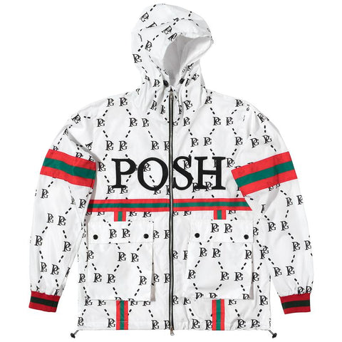 POSH PG WINDBREAKER FULL ZIP JACKET WHITE