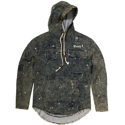 POSH DISTRESSED DENIM HOODIE JACKET