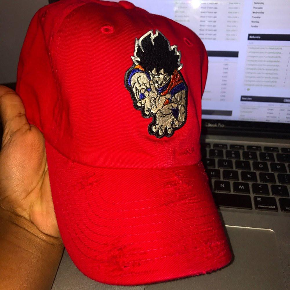 By Lee Apparel Adult Goku 2 Distressed Dad Hat - Red