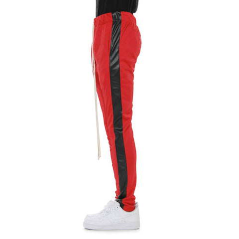 EPTM RED/BLACK VEGAN LEATHER-TRACK PANTS