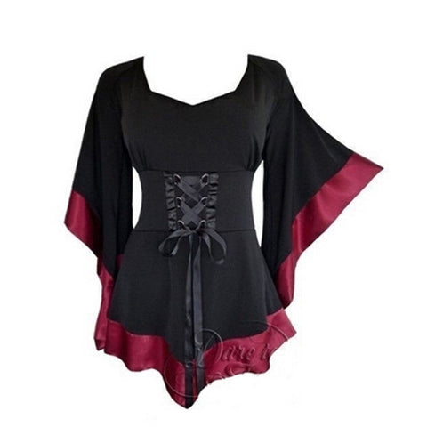 Women Vintage Goth Flared Sleeve Top
