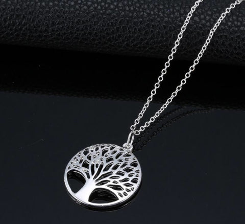 Silver Tree Round Pendant Necklace