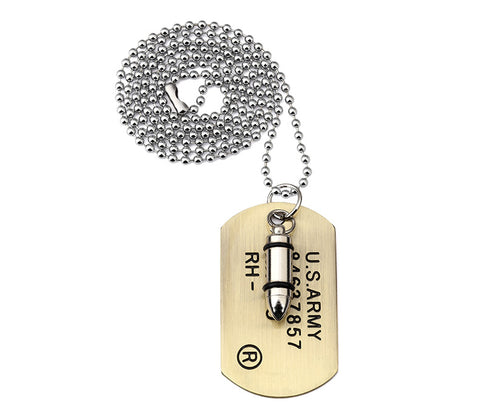 Army Bullet Style Pendant Necklace