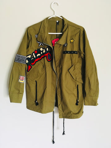 Army green patched jacket