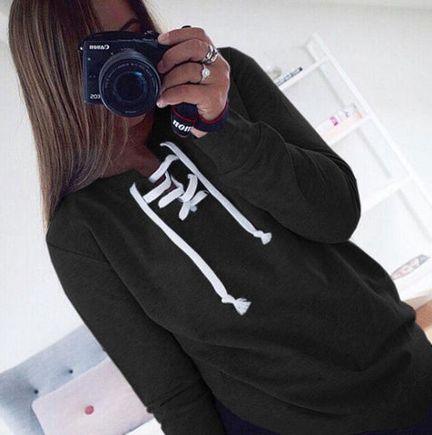 Sweatshirt Long Sleeves Lace Up