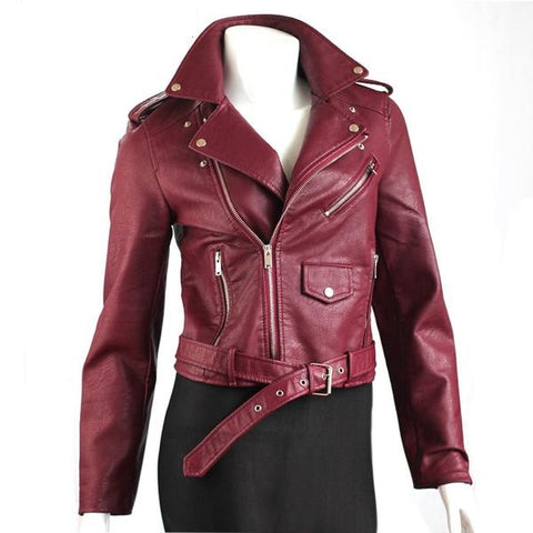 Women PU Leather Jacket Coat
