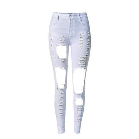 Woman Irregular Ripped Hole Jeans