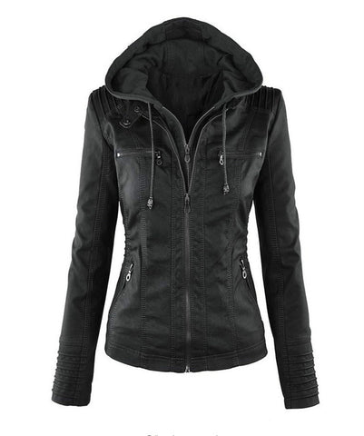 PU Leather Jacket Long Sleeves Hooded