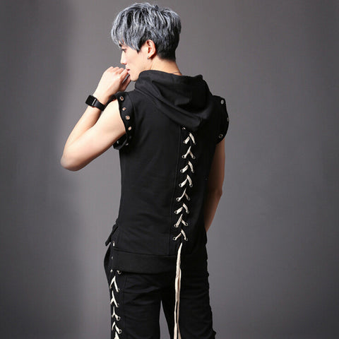 Punk Rock Hooded Laced Up T-Shirt for Men