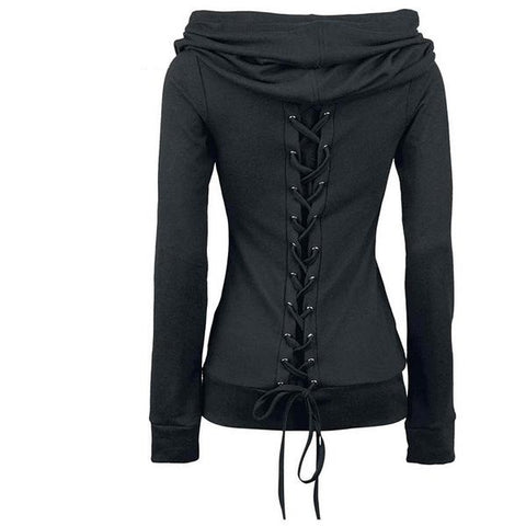 Gothic Black Casual Lace-Up Large Collar
