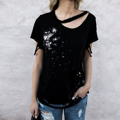 Women Irregular Ripped Loose T-shirt