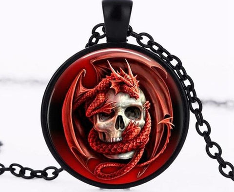 Dragon & Skull Pendant Charm Glass Necklace