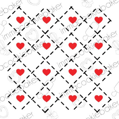 Stencil -   Argyle Heart Background 2 pt