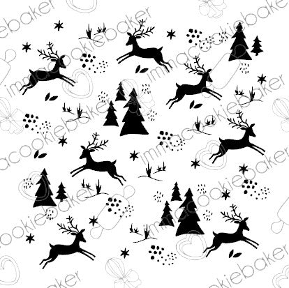 Stencil - Farmhouse Reindeer Background
