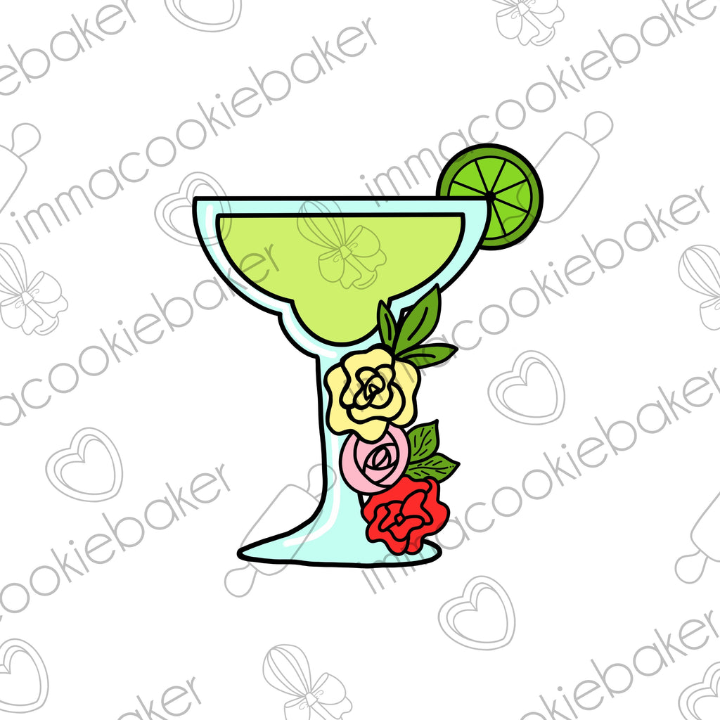 Floral Margarita Glass