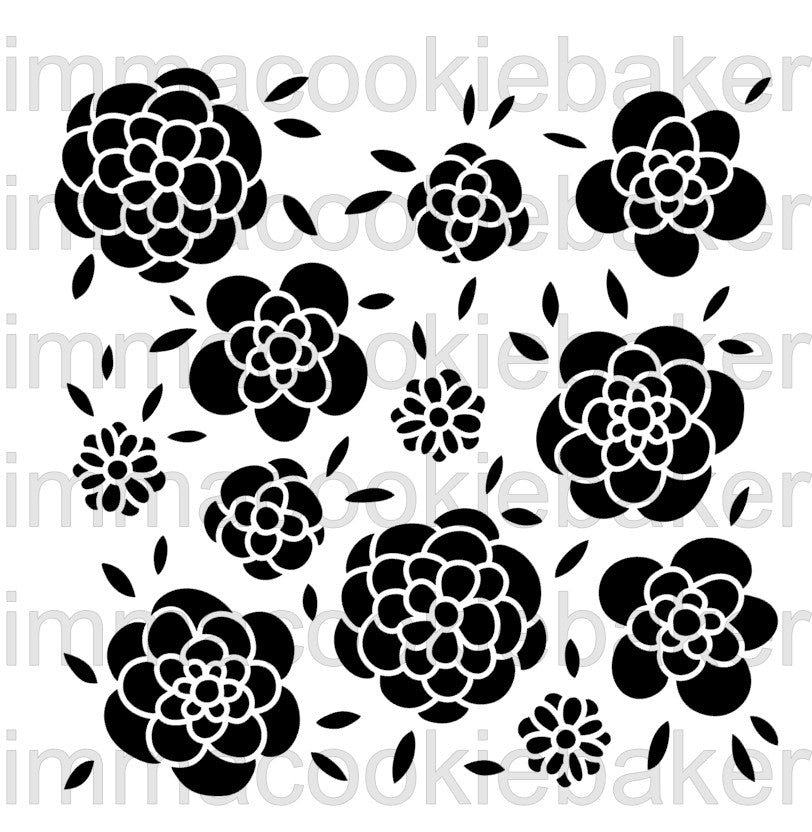 Stencil - Whimsical Flowers Background