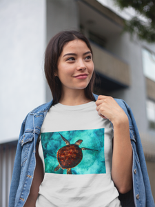 Asian Beauty Wearing Turtle Design T-Shirt