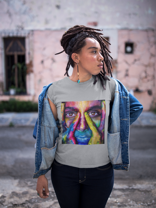 Girl wearing painted girl design t-shirt