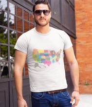 Guy wearing T-Shirt With Colored US Map Design