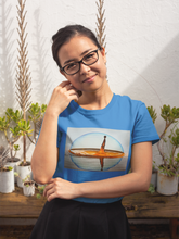 Young Lady Wearing Oil Drop Design T-Shirt