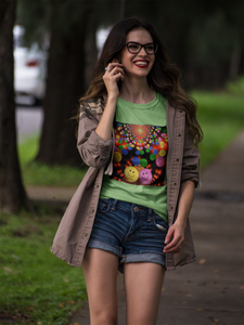 Happy Young Girl Wearing Smileys Design T-Shirt
