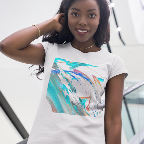 Abstract Color Design T-shirt For Women 6