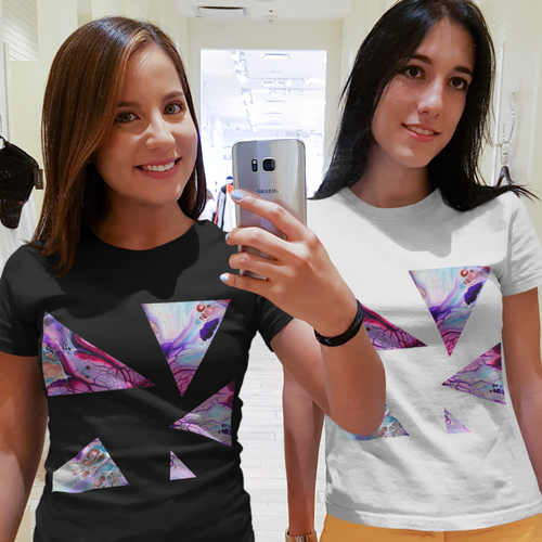 Abstract Triangle Design T-shirt For Ladies 6
