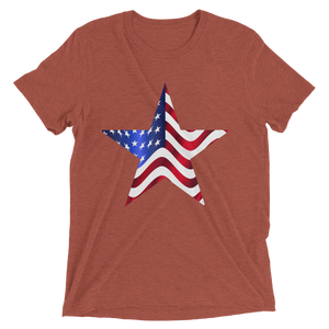 Short Sleeve T-Shirt with US Flag on Star Design 7