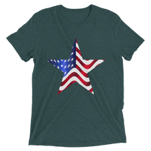 Short Sleeve T-Shirt with US Flag on Star Design 2