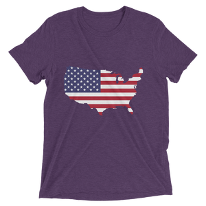 Short Sleeve T-Shirt With US Flag On Map Design 7