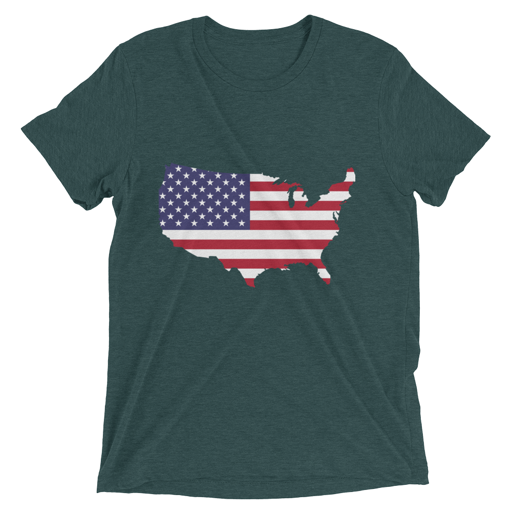 Short Sleeve T-Shirt With US Flag On Map Design 1