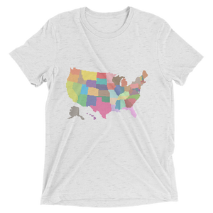 Short Sleeve T-Shirt With Colored US Map Design 7