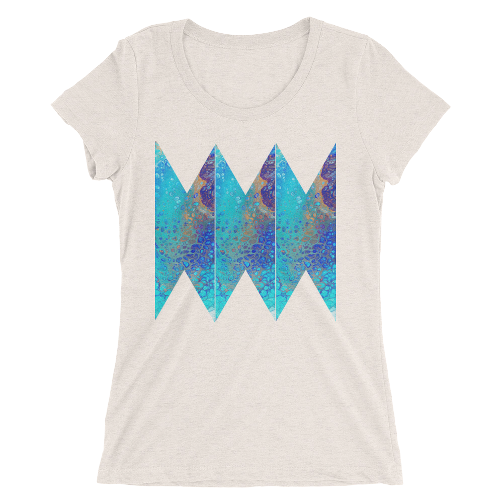 16594b0b Blue Abstract Design T-shirt For Women – Unique T-Shirt Store