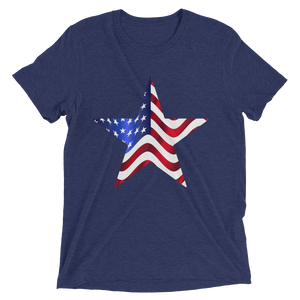 Short Sleeve T-Shirt with US Flag on Star Design 5