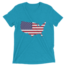 Short Sleeve T-Shirt With US Flag On Map Design