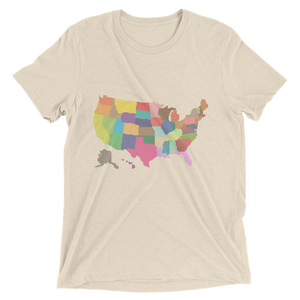 Short Sleeve T-Shirt With Colored US Map Design 1