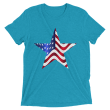 Short Sleeve T-Shirt with US Flag on Star Design 1