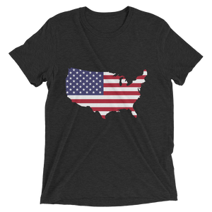 Short Sleeve T-Shirt With US Flag On Map Design 2