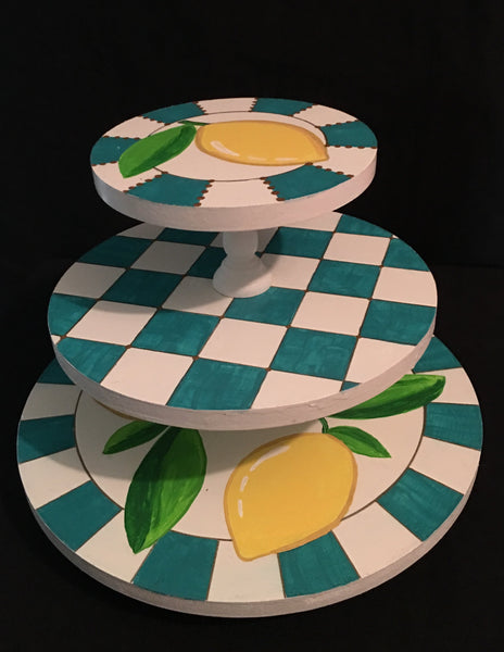 Three-tier revolving tray. Hand painted trays.