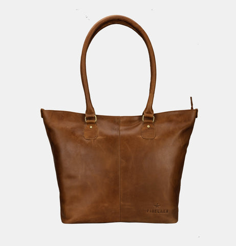 Finelaer Women's Shopper Brown Leather Large Tote