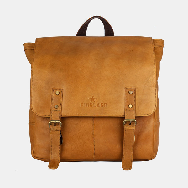 Finelaer Vintage Mustard Leather Travel Laptop