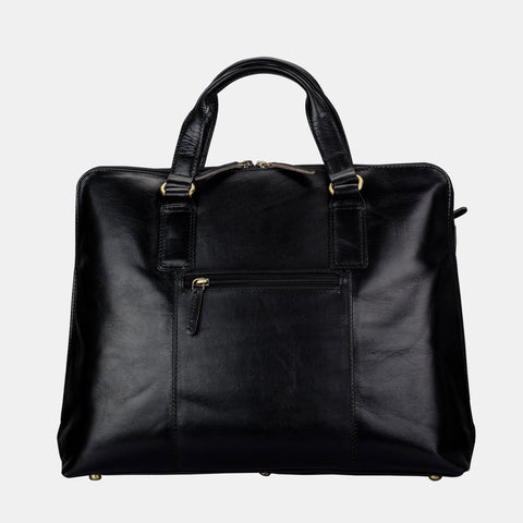 Finelaer Women Black Leather Slim Laptop Briefcase