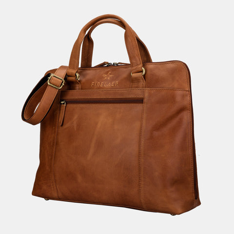 Finelaer Women Brown Leather Slim Laptop Briefcase